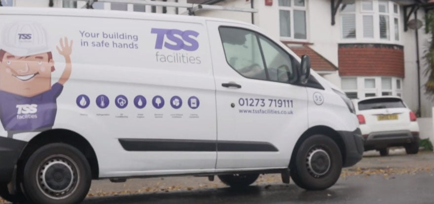 TSS facilities van going to an air conditioning Brighton job